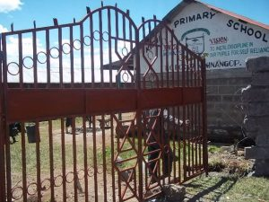 Work on the new  school gate which is now complete...