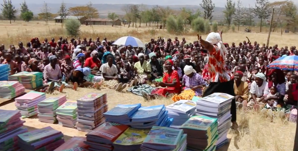 Textbook distribution at Ndibai Primary School!