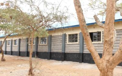 The building of the new classroom block at Kiu Primary School